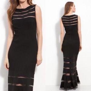 Tadashi Shoji Black Illusion Mesh Maxi Gown Dress